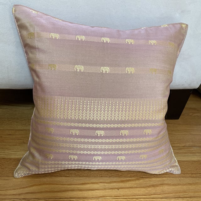 Contemporary Pink Thai Silk Pillow With Elephant Motifs For Sale - Image 11 of 11