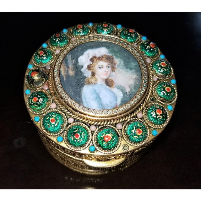 Early 19c French Gold Box With Enamel and Miniature Portrait For Sale - Image 12 of 12