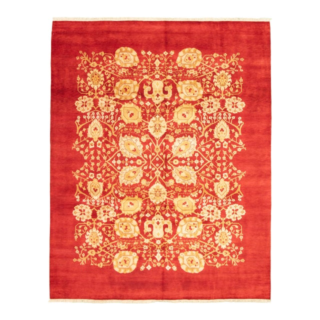Hand-Knotted Red Rug For Sale