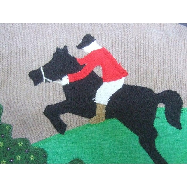 Charming applique equestrian horse jumper handbag c 1980s The adorable cloth handbag is paired with amber color tortoise...