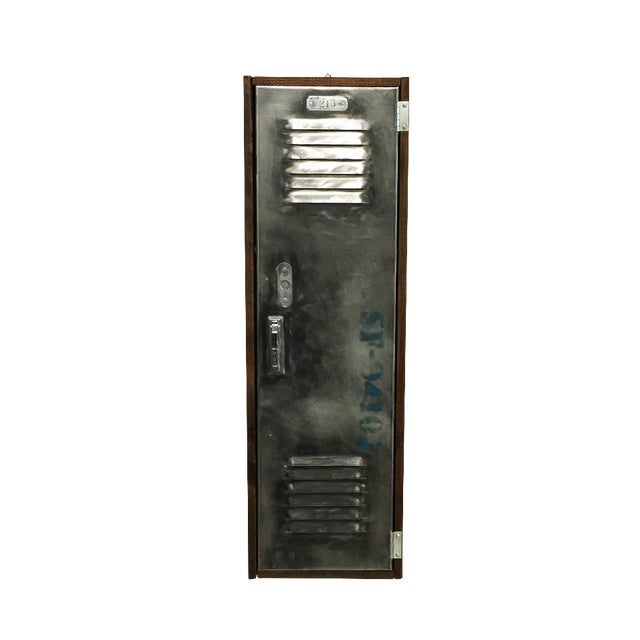 Industrial Wood & Brushed Metal Wall Cabinet - Image 1 of 6
