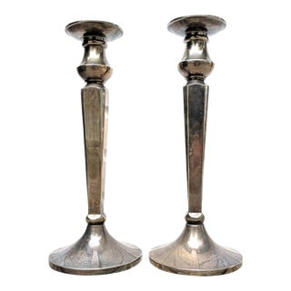 Silver Candlesticks With Patina - a Pair For Sale