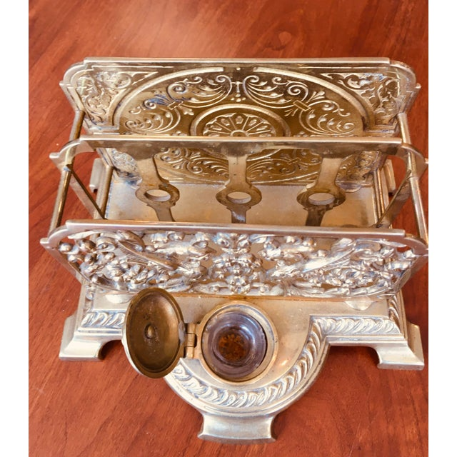 Antique Brass Letter Holder With Inkwell For Sale In New York - Image 6 of 7