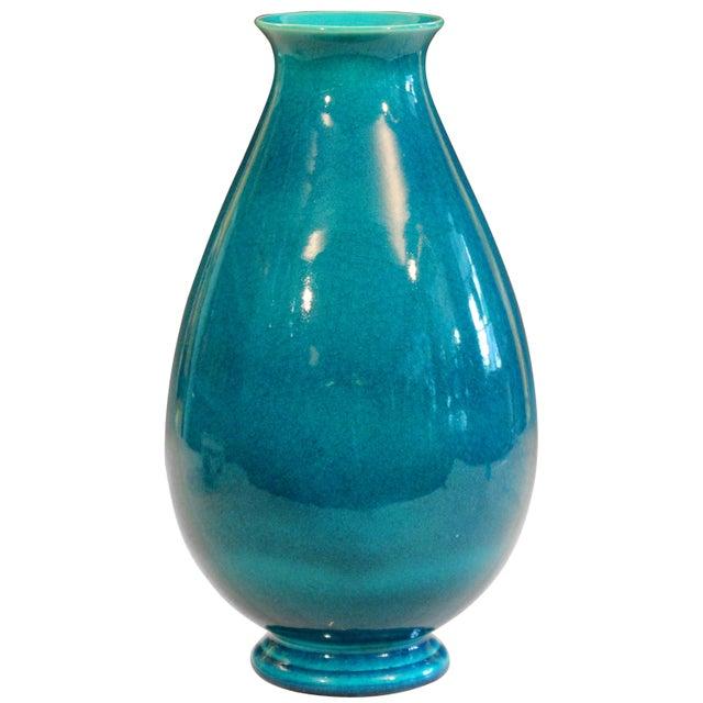 Robertson Hollywood Ca Pottery Art Deco Turquoise Crackle Glaze Vintage Vase For Sale - Image 9 of 9