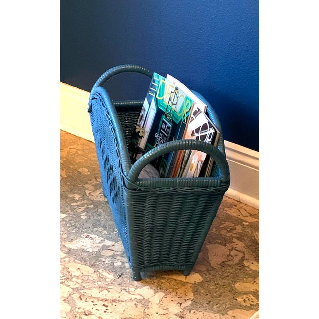 Mid-Century Modern Vintage Blue Wicker Magazine Holder For Sale - Image 3 of 5