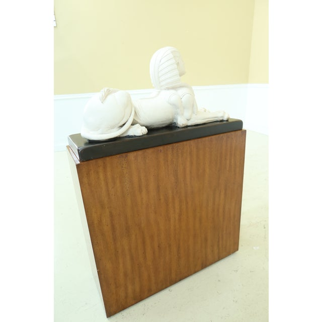Wood Theodore Alexander Sphinx Statue on Wood Base & Pedestal For Sale - Image 7 of 11