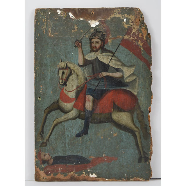 18th Century Spanish Colonial Folk Retablo of St. James the Moor-Slayer For Sale - Image 13 of 13