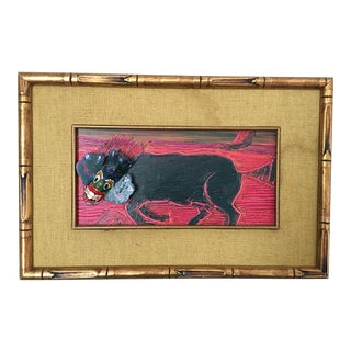 Vintage Animal Mixed Media Painting For Sale