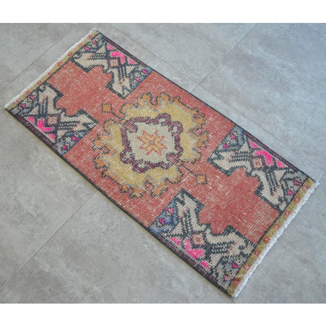 "1970s Hand Made Oushak Rug Mat Distressed Small Rug Kitchen Mat - 1'8"" X 3' For Sale - Image 5 of 6"