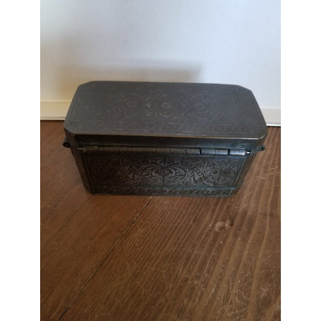 Metal Antique Bronze and Silver Betel Box For Sale - Image 7 of 11