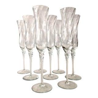 Modern Crystal Champagne Flutes - Set of 6 For Sale