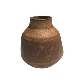 Mid-Century Swedish Brown Ceramic Jar For Sale