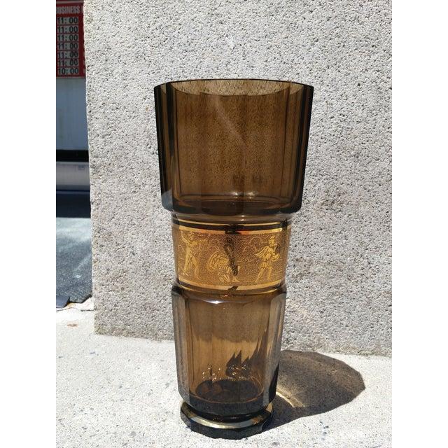 Art Deco Moser Glass Faceted Crystal Art Deco Vase For Sale - Image 3 of 6