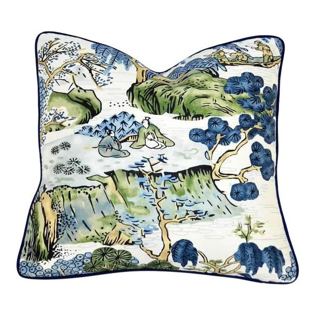 Blue Thibaut Printed Navy Blue With White Canvas Solid Back Pillow For Sale - Image 8 of 8