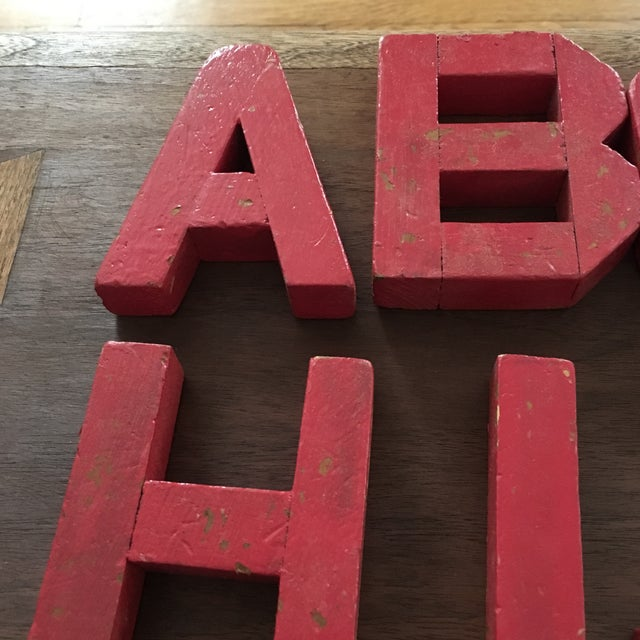 Vintage Red Wooden Alphabet Letters - 26 Pieces - Image 7 of 7