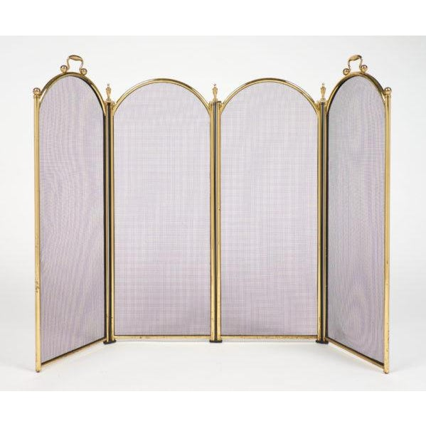 French Vintage French Neoclassical Brass Fire Screen For Sale - Image 3 of 10