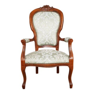 Vintage Reupholstered French Voltaire Louis XV Style Fauteuil Oak Armchair For Sale
