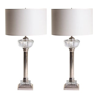French Nickel and Cut-Glass Torchiere Lamps - a Pair For Sale