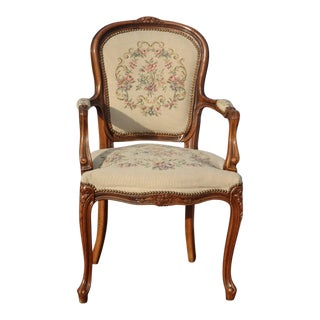 Vintage French Louis XV Style Floral Tapestry Chair Chateau d'Ax Made in Italy For Sale