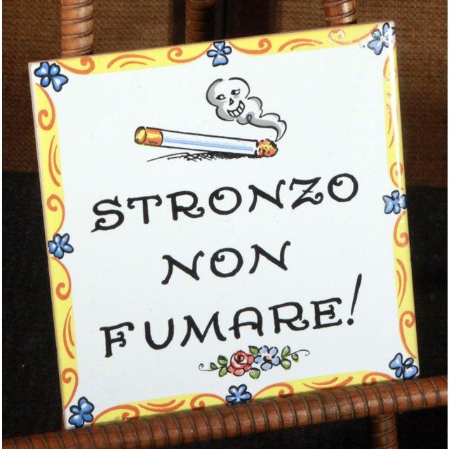 Vintage Italian 'No Smoking' Hand Painted Art Tile - Image 2 of 4