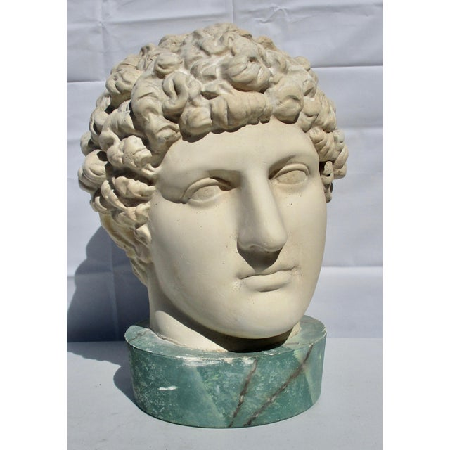 Beige 1980s Neoclassical Head of Greek Youth in Plaster Sculpture For Sale - Image 8 of 8