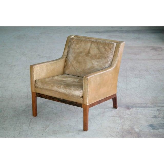 Mid-Century Modern Kai Lyngfeldt Larsen Easy Chair Model 39 Leather Rosewood for Søren Willadsen For Sale - Image 3 of 11