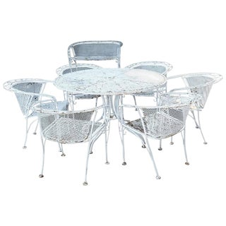 MCM Salterini Style Iron Patio Set, Six Chairs, Loveseat and Dining Table For Sale