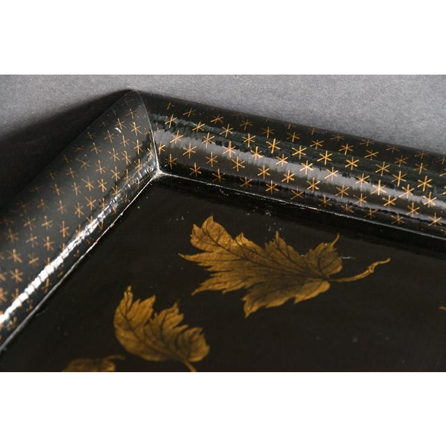 Asian Asian Black Lacquer Wood Cocktail Table With Hand Painted Gold Florals For Sale - Image 3 of 13