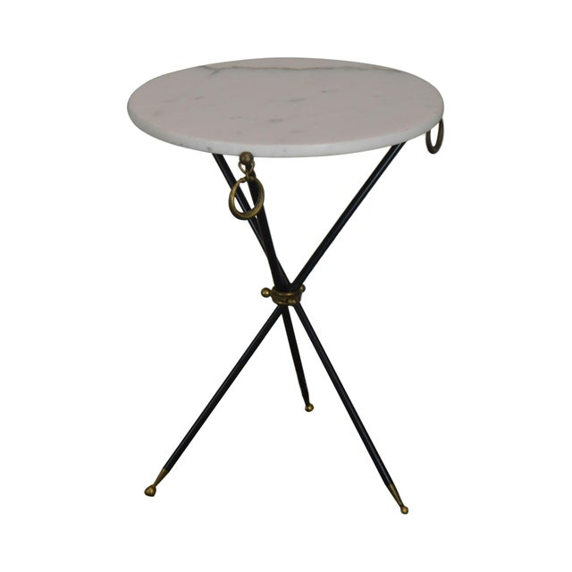 Tripod Mid Century Regency Style Round Marble Top Side Table After Robsjohn Gibbings For Sale - Image 13 of 13