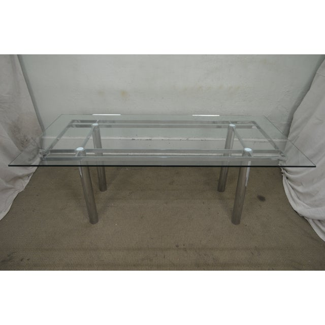 Mid Century Modern Chrome Base Rectangular Glass Top Dining Table For Sale - Image 11 of 13