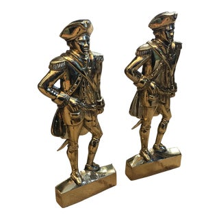 George Washington Brass Andirons - a Pair For Sale