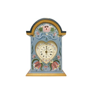 Handmade Hand Painted Wooden Floral Design Mantel Clock For Sale