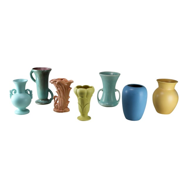 Vintage Collection of Mid-Century Pottery Vases - Set of 7 For Sale
