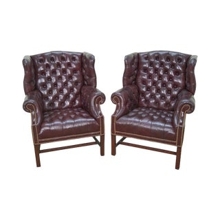 Hancock & Moore Oxblood Leather Tufted Chesterfield Chippendale Wing Chairs - a Pair