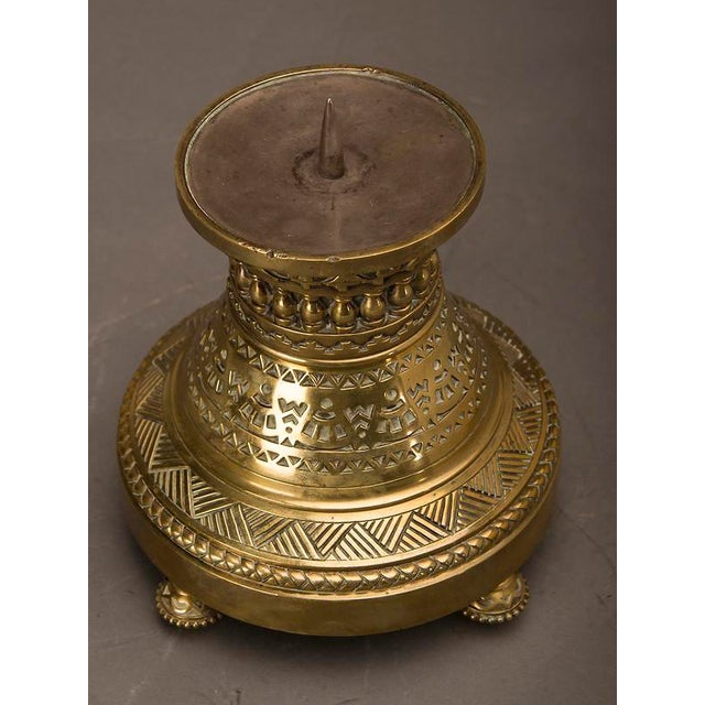 Late 19th Century 19th Century English Large Scale Arts and Crafts Period Cast Brass Pricket Candle Stand For Sale - Image 5 of 6