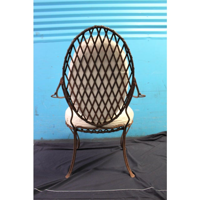 Cast Iron Rose Tarlow Twig Iron Garden Armchairs & Table Base For Sale - Image 7 of 10