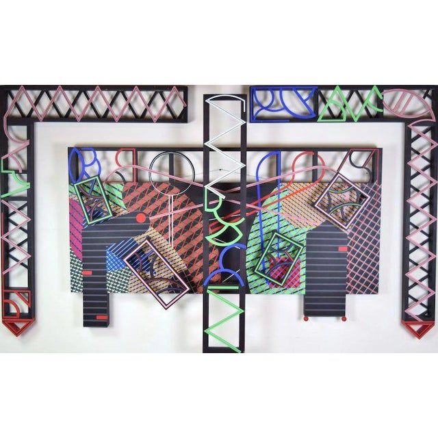 """1991 Contemporary Geometric Polychrome Wood Canvas Wall Sculpture, """"Latticed Planes Two"""" For Sale In Chicago - Image 6 of 6"""
