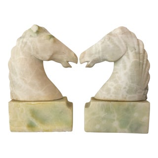 Vintage Unpolished Marble Horse Head Bookends - a Pair For Sale