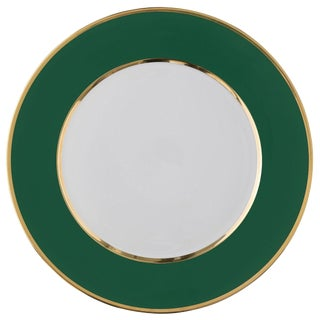 """Schubert"" Charger in Emerald Green & Narrow Gold Rim For Sale"