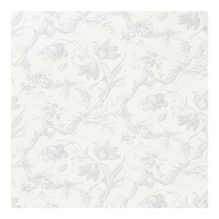 Sample - Schumacher Toile De Fleurs Wallpaper in Grisaille For Sale
