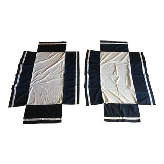 Navy Blue and White Classic Crib Skirts - A Pair For Sale