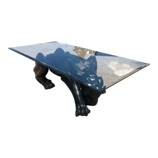 1980s Figurative Black Panther Coffee Table For Sale