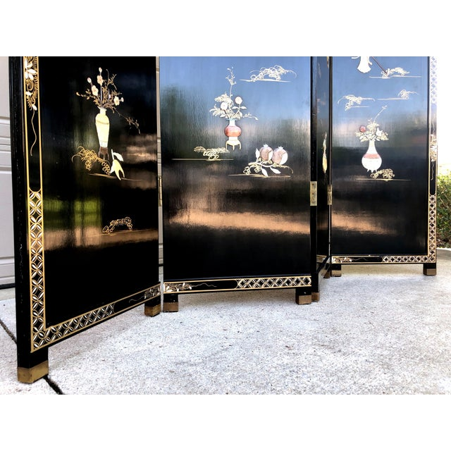 1940's Asian Jade and Black Lacquer Coromandel Room Divider For Sale - Image 12 of 13