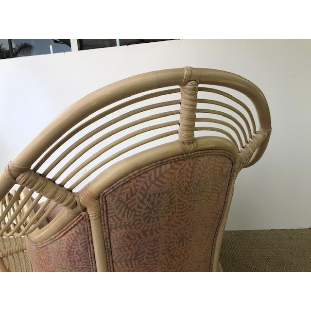 Wood 1980s Vintage Palm Beach Regency Rattan and Reed Lounge Chair & Ottoman For Sale - Image 7 of 11