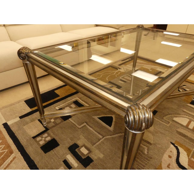 LaBarge Hollywood Regency Brass & Steel Coffee Table For Sale - Image 12 of 13