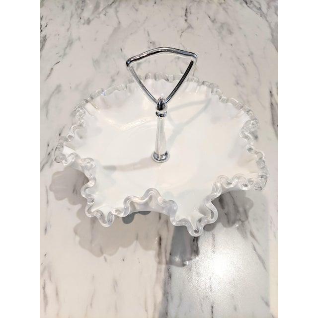 Glass Vintage 1950s Fenton Silver Crest Ruffle Edged Milk Glass Bon Bon Dish For Sale - Image 7 of 7