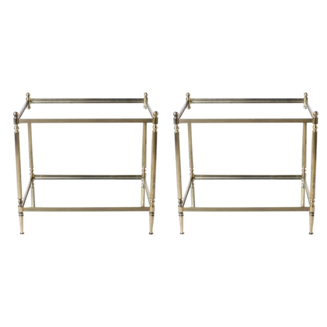 Pair of Brass Tables with Mirror Tops C. 1950 For Sale - Image 4 of 4