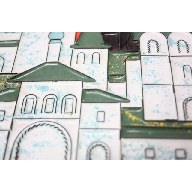 Vintage Russian Enamel on Copper Cityscape For Sale In New York - Image 6 of 13
