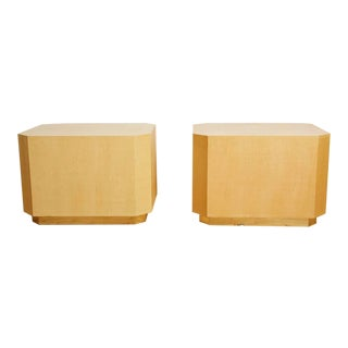 Large 1980s Karl Springer Style Grasscloth End Tables - a Pair For Sale