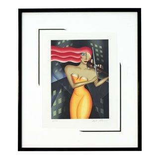 Contemporary Framed Lithograph of Red Haired Woman Signed Robin Morris 1980s For Sale